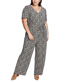 Plus Size Printed Belted Jumpsuit