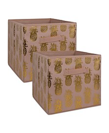 Non-woven Polyester Cube Pineapple Millennial Square Set of 2