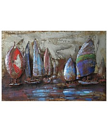 "The Regatta 2 Mixed Media Iron Hand Painted Dimensional Wall Art, 32"" x 48"" x 2.4"""
