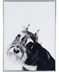 "Schnauzer Pet Paintings on Reverse Printed Glass Encased with a Gunmetal Anodized Frame Wall Art, 24"" x 18"" x 1"""
