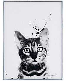 """Bengal Cat Pet Paintings on Reverse Printed Glass Encased with a Gunmetal Anodized Frame Wall Art, 24"""" x 18"""" x 1"""""""