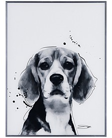 "Beagle Pet Paintings on Reverse Printed Glass Encased with a Gunmetal Anodized Frame Wall Art, 24"" x 18"" x 1"""