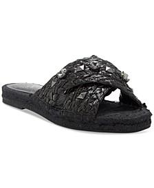Women's Jermindi Embellished Raffia Slide Sandals