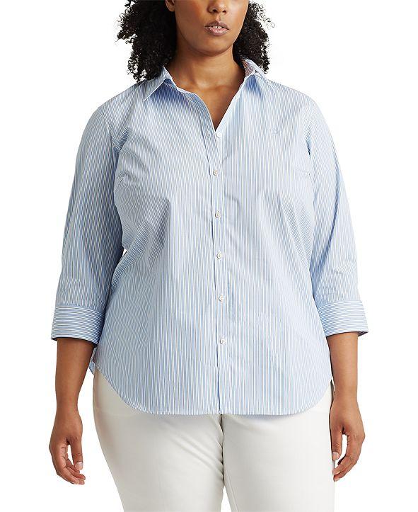 Lauren Ralph Lauren Plus-Size Striped Easy Care Shirt