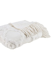 Brianne Cotton Tufted Throw with Fringe Trim