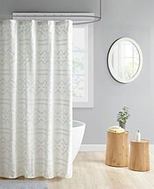 "Annie Clipped Jacquard Seersucker Shower Curtain, 72"" W x 72"" L"