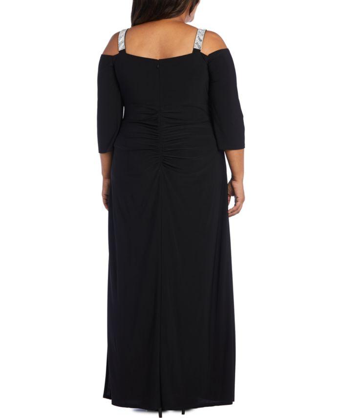 R & M Richards Plus Size Embellished Cold-Shoulder Gown & Reviews - Dresses - Plus Sizes - Macy's
