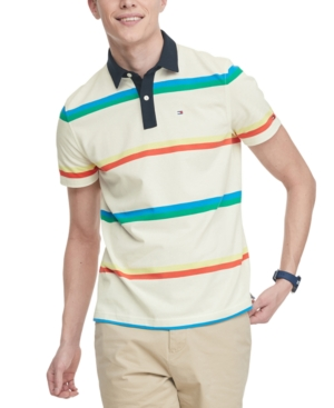 Tommy Hilfiger Men's Nicholas Custom-Fit Th Cool Striped Polo Shirt