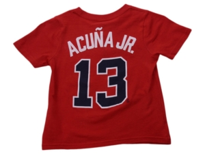 Nike Atlanta Braves Kids Ronald Acuna Name and Number Player T-Shirt