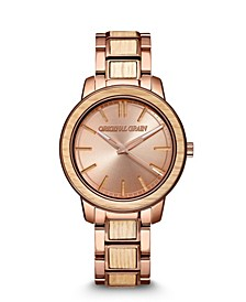 Women's Reclaimed from Whiskey Barrel Wood paired with Espresso Stainless Steel Bracelet Watch 36mm