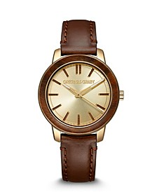 Women's Brown Genuine Leather Strap Watch 36mm