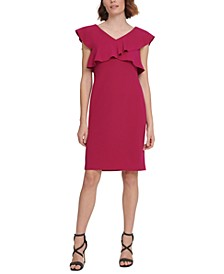 Crisscross Ruffle Sheath Dress