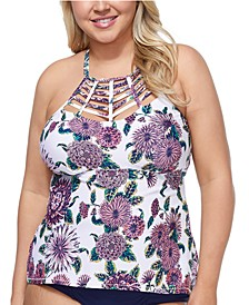 Trendy Plus Size Juniors' Wild Romance Boa Tankini Top