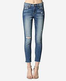 High Rise Raw Hem Skinny Ankle Jeans