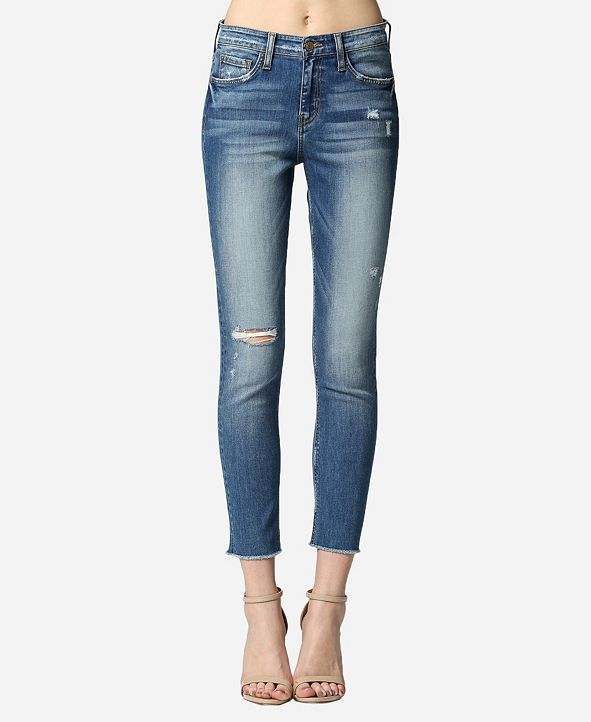 FLYING MONKEY High Rise Raw Hem Skinny Ankle Jeans