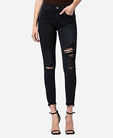 Mid Rise Distressed Raw Hem Skinny Crop Jeans