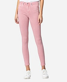 High Rise Vintage-Like Spring Pink Color Skinny Jeans