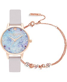 Women's Under The Sea Pearly Lilac Leather Strap Watch 34mm Gift Set