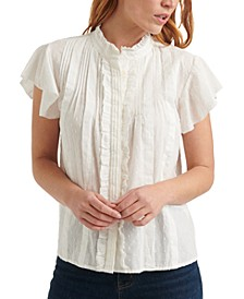 Pleated Flutter-Sleeve Poet Top