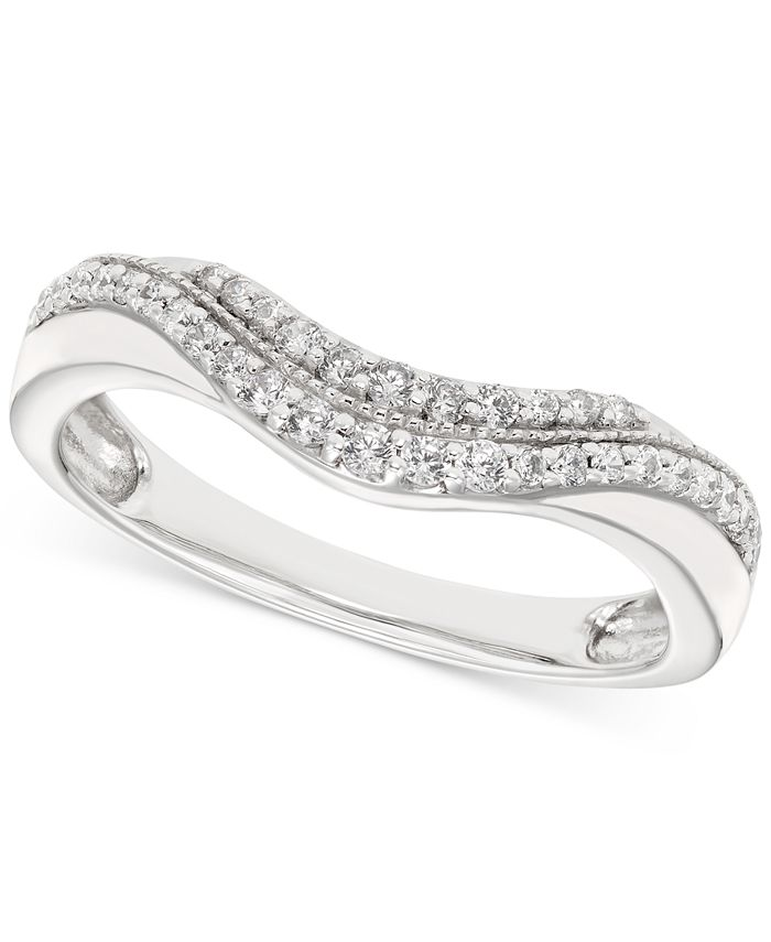 Macy's - Diamond Contoured Band (1/4 ct. t.w.) in 14k White Gold