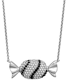 Platinum Over  Sterling Silver Necklace, Black and White Crystal Candy Pendant