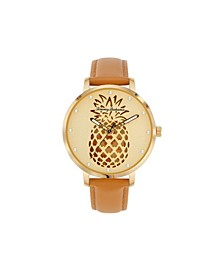Women's Shaken Crystal Pineapple Brown Leather Strap Watch, 38mm