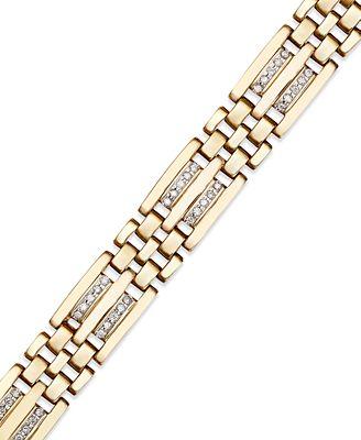 Macy S Men S Diamond Bracelet In 10k Gold 1 4 Ct T W Bracelets