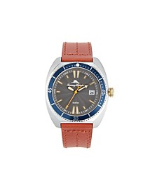 Men's sag Harbor Diver Multi Leather Strap Watch, 48mm