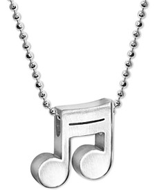 """Musical Note Beaded Link 16"""" Pendant Necklace in Sterling Silver"""