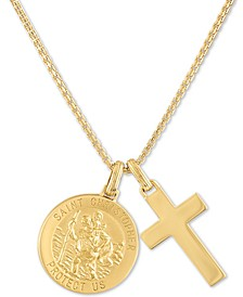 "St. Christopher & Cross 22"" Pendant Necklace in 14k Gold-Plated Sterling Silver, Created for Macy's"