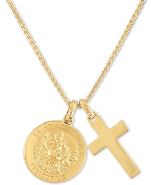 """St. Christopher & Cross 24"""" Pendant Necklace in 14k Gold-Plated Sterling Silver"""
