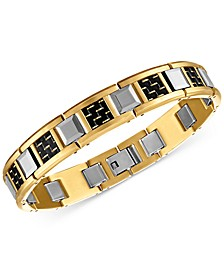 Woven Carbon Fiber & Tungsten Link Bracelet in Stainless Steel & Gold Ion-Plated Stainless Steel, Created for Macy's