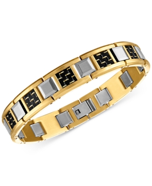 Woven Carbon Fiber & Tungsten Link Bracelet in Stainless Steel & Gold Ion-Plated Stainless Steel