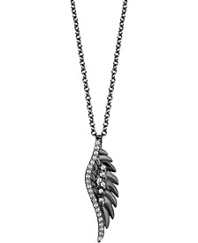 "Enchanted Disney Villains Diamond Maleficent Wing Pendant Necklace (1/10 ct. t.w.) in Sterling Silver, 16"" + 2"" extender"