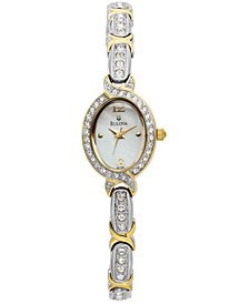 Bulova Women's Crystal Two-Tone Bangle Bracelet Watch 17mm 98L005