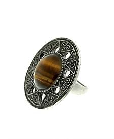 by 1928 Aztec Mandala Semi-Precious Tiger's Eye Ring