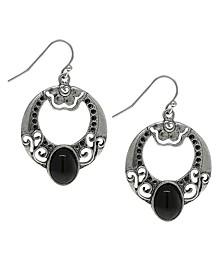 by 1928 Pewter Genuine Onyx Hoop Earrings