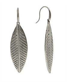 by 1928 Pewter Tone Large Linear Leaf Earring