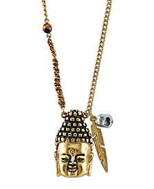 T.R.U. by 1928 Waxed Linen Wrapped Chain with 14 K Gold Dipped Buddha Head Necklace