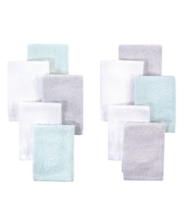 Little Treasure - Baby Boys and Girls Rayon from Bamboo Luxurious Washcloths, Mint Gray