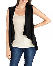 24seven Comfort Apparel Open Front Sleeveless High Low Cardigan Vest