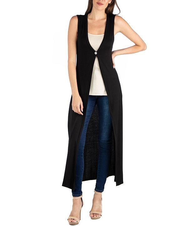 24seven Comfort Apparel V-Neck Sleeveless Duster Vest Cardigan