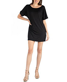 24seven Comfort Apparel Women's Loose Fit T-Shirt Dress with Boat Neck