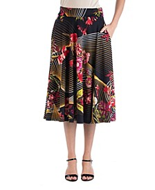 Geometric Floral A-Line Midi Skirt with Pockets
