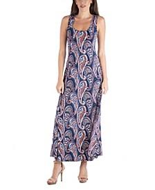 Sleeveless Paisley A-Line Maxi Dress