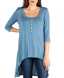 Three Quarter Sleeve High Low Henley Top with Button Design