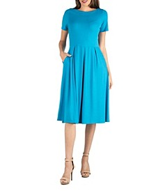 Midi Dress with Short Sleeves and Pocket Detail