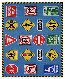 "Fun Time Traffic Signs 19"" x 29"" Area Rug"