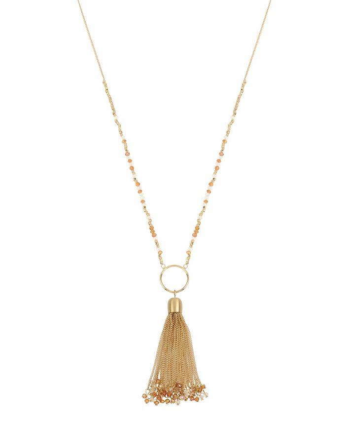 "Jessica Simpson - Tassel Pendant Beaded Necklace, 27"" + 2"" Ext"