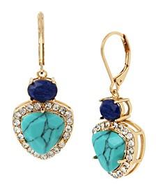 Geometric Stone Double Drop Earrings